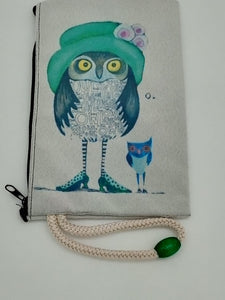Owls on the Town Velveteen Mask & Cosmetic Bag by Inspired Vintage