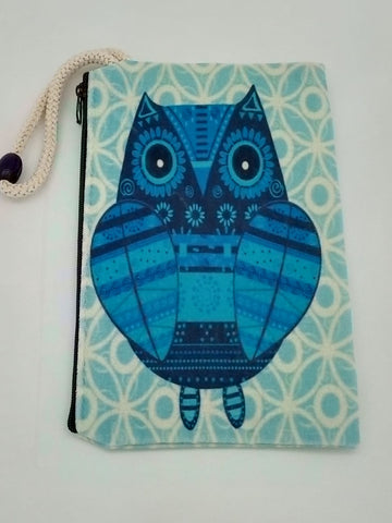 Blue Shades Owl Art Bag Velveteen Mask & Cosmetic Bag By Inspired Vintage