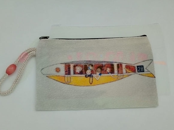 Submarine Tour Art Bag Velveteen Mask & Cosmetic Bag By Inspired Vintage