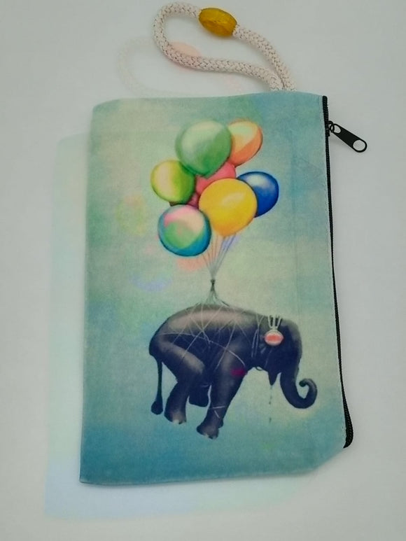 Balloon Elephant Art Bag Velveteen Mask & Cosmetic Bag By Inspired Vintage
