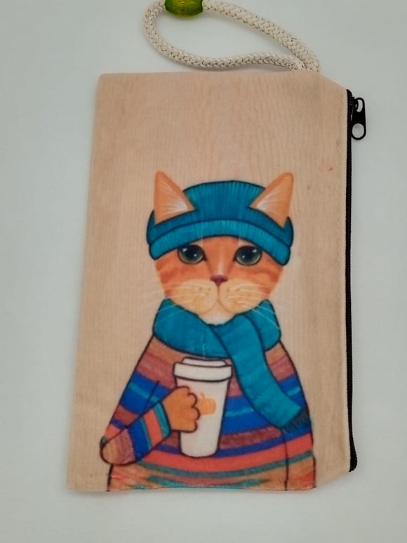 Warm Latte Cat Art Bag Velveteen Mask & Cosmetic Bag By Inspired Vintage