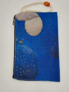Elephant Moon Starlight Art Bag Velveteen Mask & Cosmetic Bag By Inspired Vintage