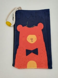 Bow Tie Bear Art Bag Velveteen Mask & Cosmetic Bag By Inspired Vintage