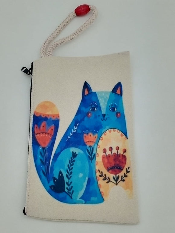 Southwestern Tulip Cat Art Bag Velveteen Mask & Cosmetic Bag By Inspired Vintage