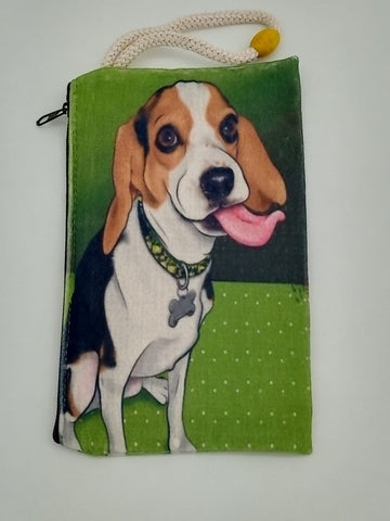 Happy Pup on the Green Velveteen Mask & Cosmetic Bag by Inspired Vintage