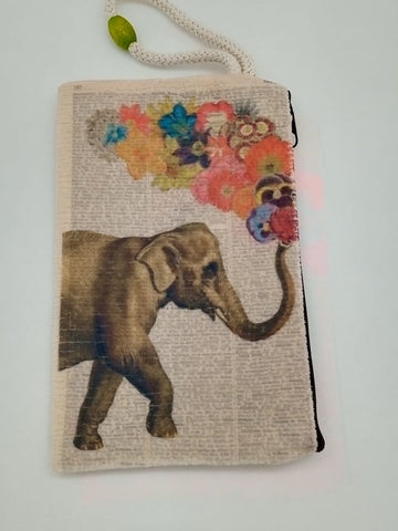 Lucky Elephant Got Some Flowers Velveteen Art Bag Mask & Cosmetic Bag by Inspired Vintage