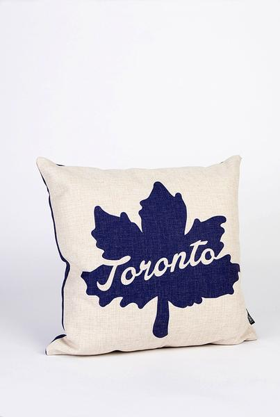 Blue Toronto Maple Leaf Pillow with Vegan Down Fill