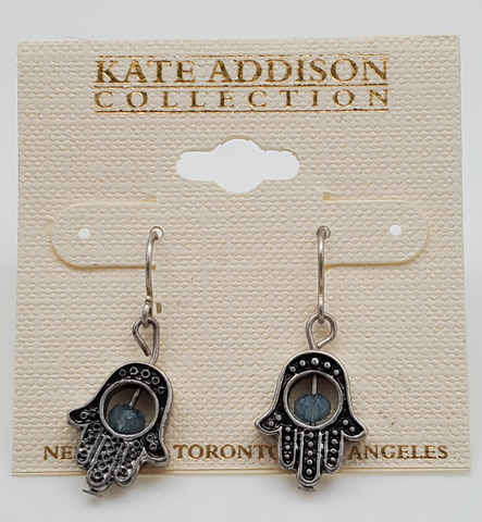 Kate Addison Black Hamsa Symbol Earrings