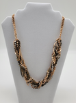 Gold And Black Color Twisted Featuring Stones Necklace