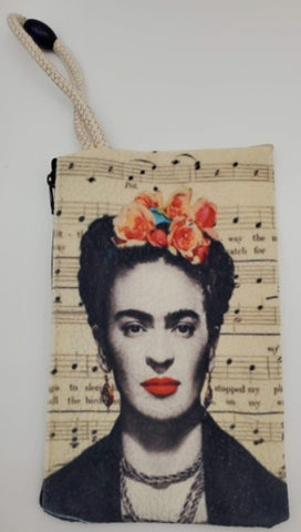 Frida Kahlo Velveteen On Canvas Zipper Art Bag