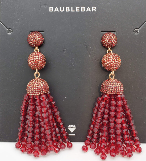 Baublebar Ruby and Gold Dropping Duster Earrings