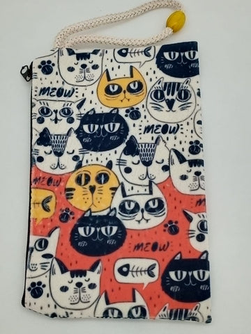White Background Cats Art Bag