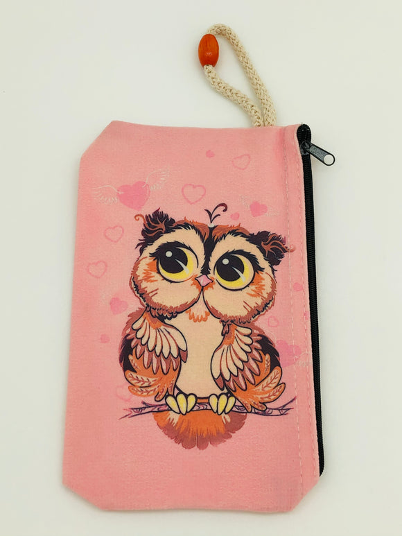 Pink hearts owl Art Bag