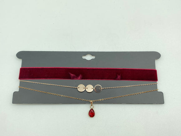 3 Velvet/Drop 3 Disk Choker Necklace
