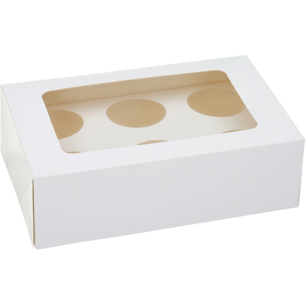 7 x 4 WHITE CAKE BOX CELLO LID & 6 CUPCAKE INSERT