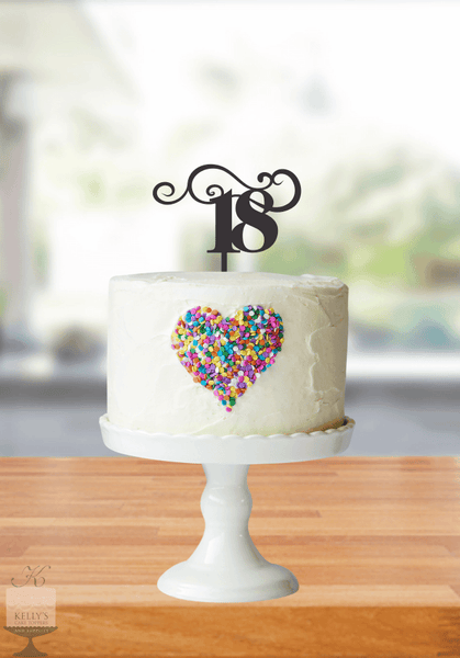 Kelly's Cake Toppers - Age with Swirls - 18 - Gold
