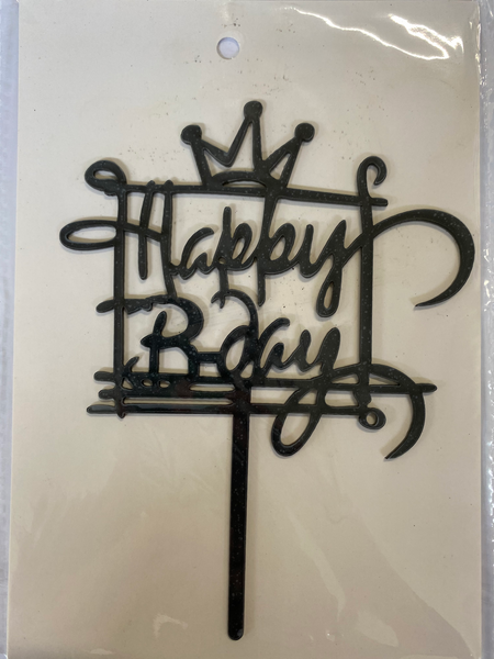 Acrylic Cake Topper - Happy Birthday in Present Box - Black
