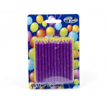 SPIRAL CANDLES PURPLE GLITTER - FLOUR POWER