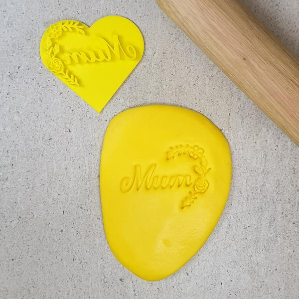 Custom Cookie Cutters - Mum with Flowers Heart Embosser
