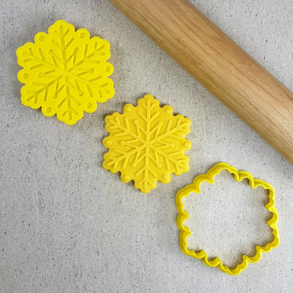 Custom Cookie Cutters - Snowflake Cutter and Embosser Set