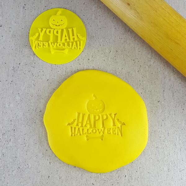 Custom Cookie Cutters - Happy Halloween (Pumpkin) Embosser