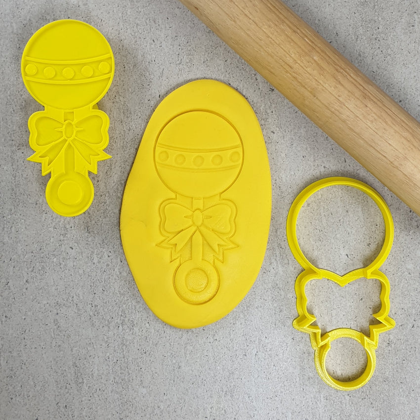 Custom Cookie Cutters - Baby Rattle 3D Embosser & Cutter