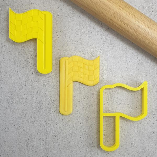 Custom Cookie Cutters - Race Flag 3D Embosser & Cutter