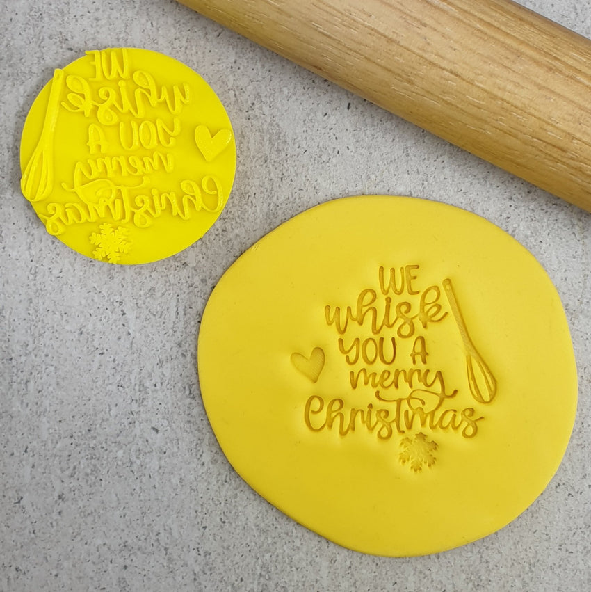Custom Cookie Cutters - We Whisk You a Merry Christmas Embosser