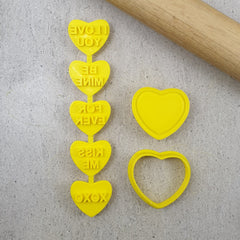 Custom Cookie Cutters - Candy Heart I Love You Set