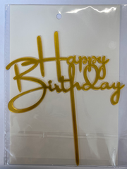 Acrylic Cake Topper - Happy Birthday 3 - Gold