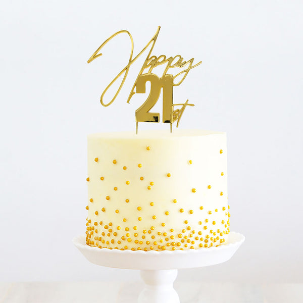 """HAPPY 21ST"" METAL TOPPER GOLD"