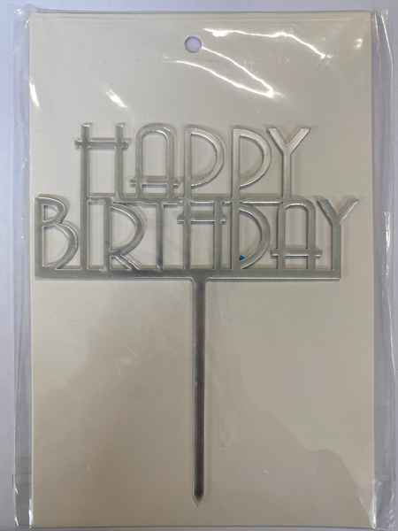 Acrylic Cake Topper - Happy Birthday 6 - Silver