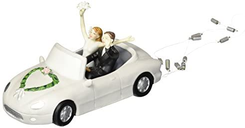 """HONEYMOON BOUND"" Couple In Car Wedding Cake Topper"