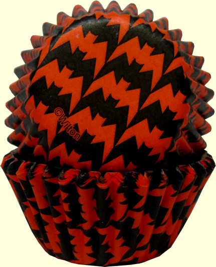 Wilton Mini Baking Cups - Orange & Black Bat Pattern