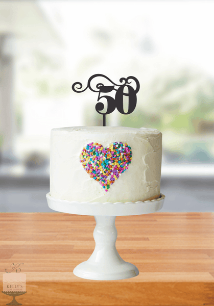 Kelly's Cake Toppers - Age with Swirls -50 - Rose Gold