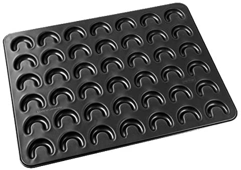 "Zenker 7420Baking Tray For Crescent-Shaped Cookies""Special Creative"" For 42 Cookies, Black, 16.54 x 12.60 x 0.39"""
