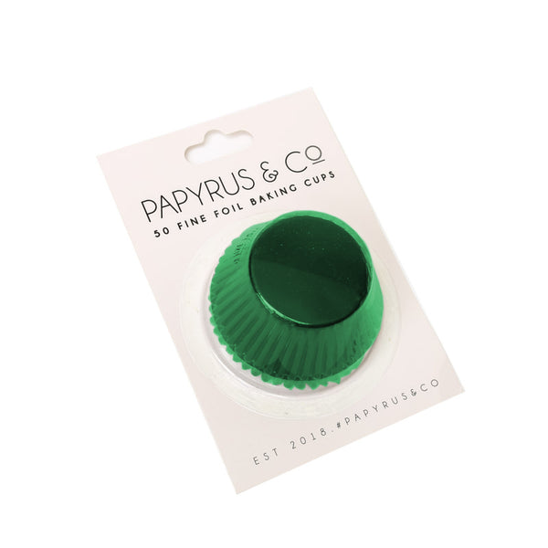 STANDARD GREEN FOIL BAKING CUPS (50 PACK) - 50MM BASE