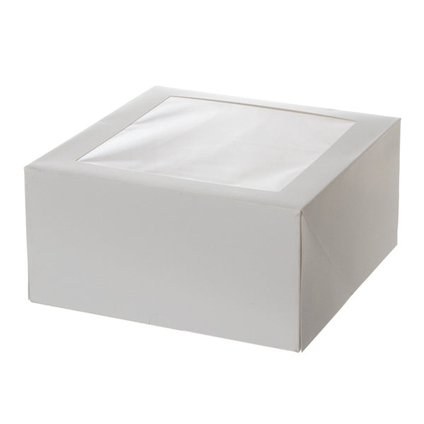 8 x 8 x 4 WHITE CAKE BOX CELLO LID & 6 CUPCAKE INSERT