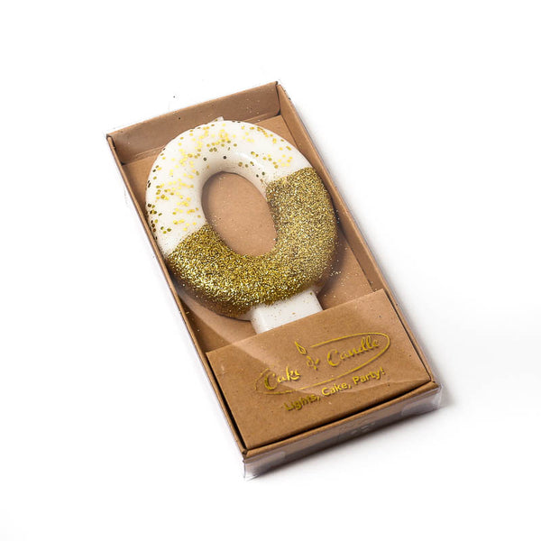 8CM GOLD GLITTER DIPPED CANDLE - NUMBER 0