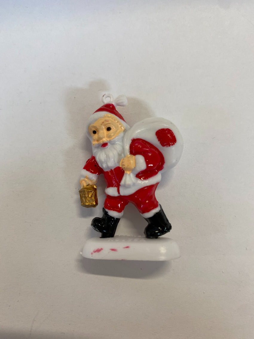Santa With Present Sack & Lantern Figurines