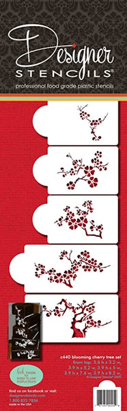 Designer Stencils Blooming Cherry Tree, Set of 5