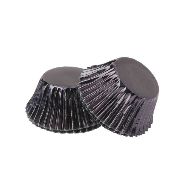 Foil Mini Cupcake Cups Black x 40 Pack