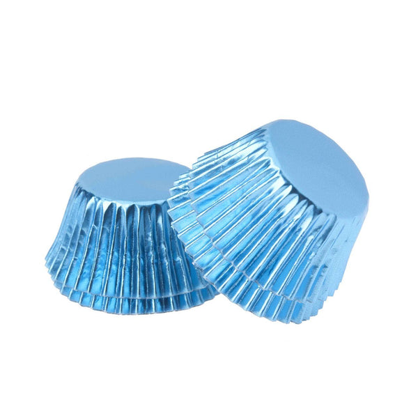 Foil Mini Cupcake Cups Blue x 40 Pack