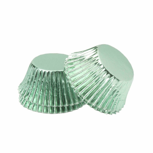 Foil Mini Cupcake Cups Mint Green x 40 Pack