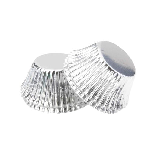 Foil Mini Cupcake Case Silver x 40 Pack