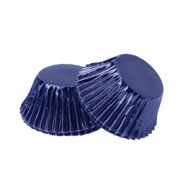 Foil Mini Cupcake Cups Navy Blue x 40 Pack