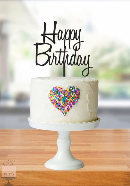 Kelly's Cake Toppers - Happy Birthday - Silver