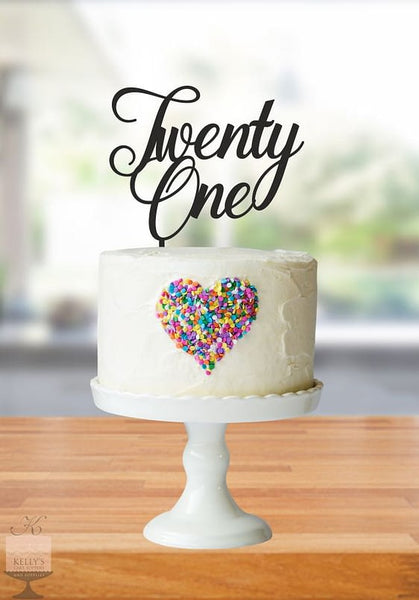 Kelly's Cake Toppers - Cursive Twenty One - Gold