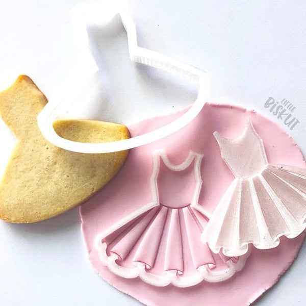 Custom Cookie Cutters - Little Biskut TuTu Stamp and Cutter Set