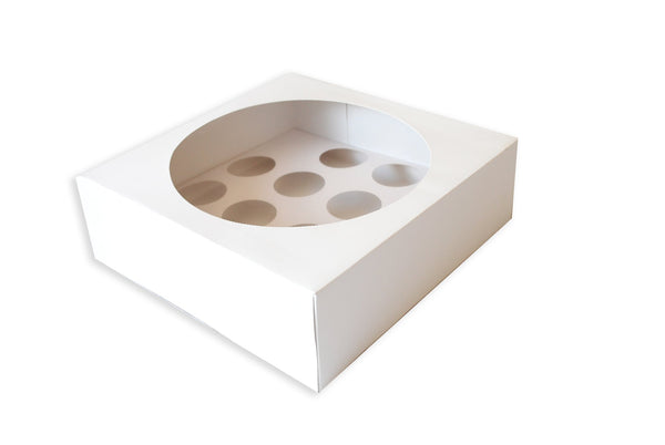 13 x 13 x 4 WHITE CAKE BOX CELLO LID & 12 CUPCAKE INSERT